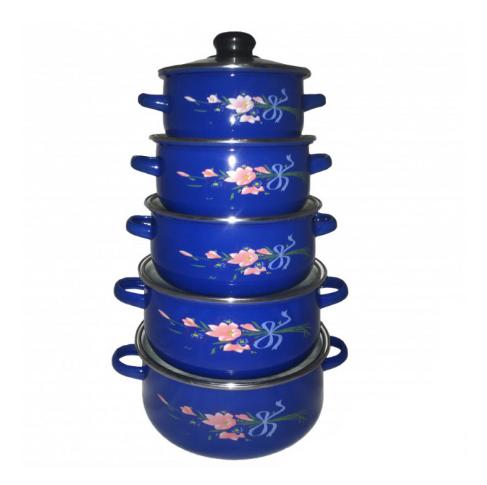 Набор кастрюль UNIQUE UN-2356 эмалированных 10 предметов Синий из нержавеющей стали