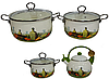 Набор кастрюль и чайник Edenberg EB-3372D эмалированных 7 предметов из нержавеющей стали