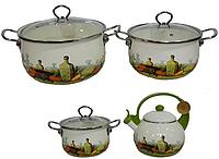 Набор кастрюль и чайник Edenberg EB-3372D эмалированных 7 предметов из нержавеющей стали, фото 1