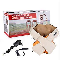 Роликовый массажер для спины и шеи Massager of neck kneading | массажная подушка | массажер с подогревом