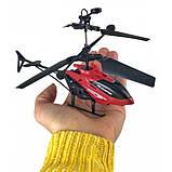 Летающий вертолет c сенсорным управлением рукой usb красный | инновационная игрушка, фото 2