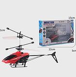 Летающий вертолет c сенсорным управлением рукой usb красный | инновационная игрушка, фото 4