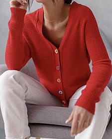 Трикотажная женская кофта-кардиган с цветными пуговицами микс цветов в размерах S/M и L/XL
