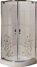 FS-03/80 (80х80см). Душевая кабина KO&PO с мелким поддоном (13,5см), стекло с декором
