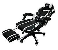 Спортивне крісло компютерне крісло DEUS LARGE чорно-біле Кресло для компьютера Геймерськое игровое кресло Стул