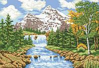 "Схема для вышивки бисером на атласе ""Речка в лесу"" Размер 54х36 см."