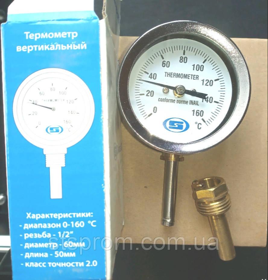 """Термометр вертикальный 0-160 С, 1/2"""""""