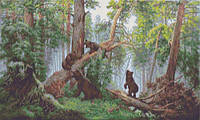 """Схема для вышивки бисером на атласе """"Репродукция Шишкина И.И.  (Утро в сосновом лесу)"""" Размер 54х33 см."""