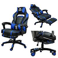 Геймерське спортивне крісло DEUS LARGE синє офісне Ігрове крісло Геймерское кресло Компьютерное кресло