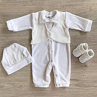 """Велюровый костюм для мальчика """"Голден Беби"""" молочный - Размер 56,62,68,74,80,86"""