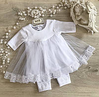 """Велюровый Крестильный костюм для девочки """"Чарівна Світлинка"""" белый, молочный - Размер 56,62,68,74"""