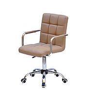 Офисное кресло эко-кожа бежевый AUGUSTO - ARM CH-OFFICE с хромированным основанием