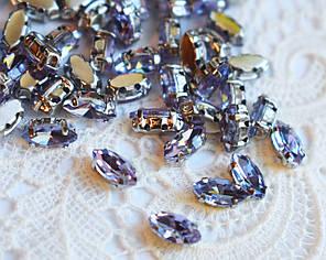 Стразы стеклянные Маркиз (Лодочка) 4х8 мм, в оправе, сиреневые
