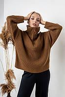 Теплый вязанный свитер коричневого цвета. Модель 2013. Размеры 42-52, фото 1