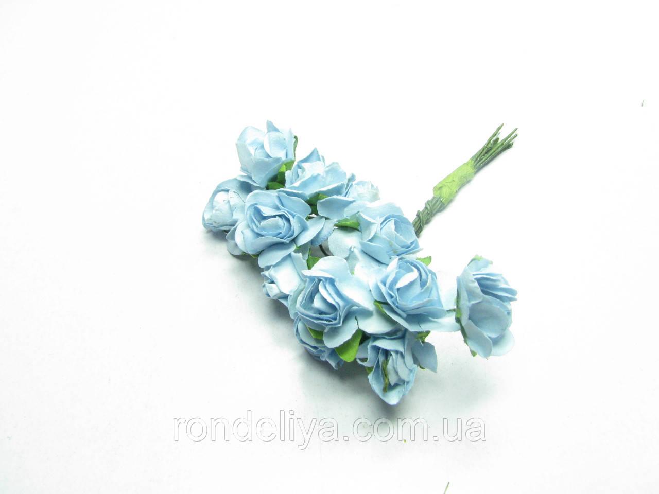 Цветок Роза бумажная голубая