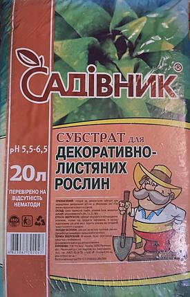 """Субстрат """"Садівник"""" для декоративно-листяних, 20 л - Готові субстрати, фото 2"""