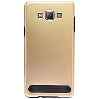 Бампер алюминиевый для Samsung Galaxy A7 A700 - Motomo TPU Metal case (золотой)