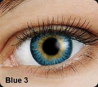 Голубые цветные контактные линзы OKVision Fusion Blue 3