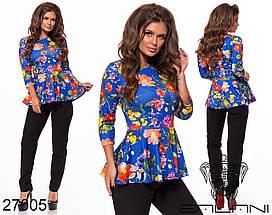 Брючний Костюм трикотажний з яскравою блузою з баскою, різні кольори р. 42,44,46,48,50,52,54 Код 449/450Д, фото 3