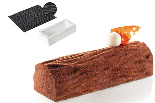 Силиконовая форма для десертов Silikomart Kit Buche+TEX01 250х90mm.h=70 Италия -04430