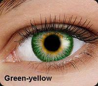 Зелёные цветные контактные линзы OKVision Fusion Green-Yellow