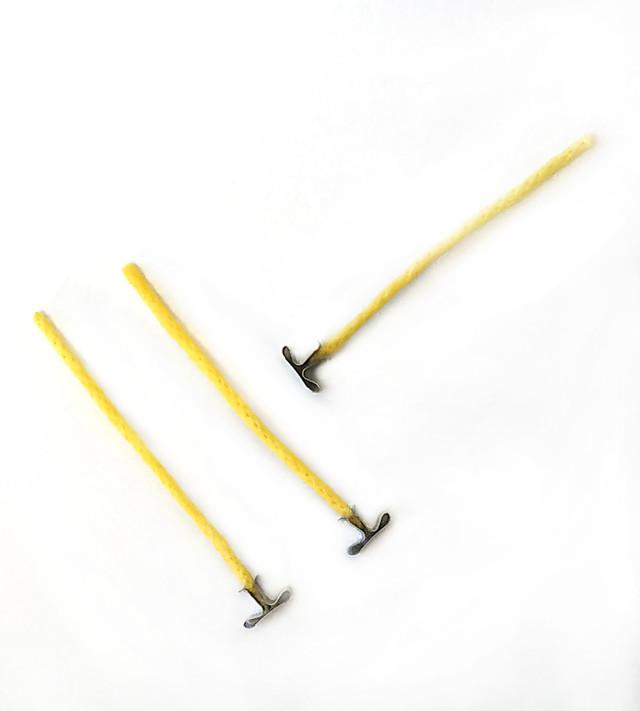 Фитиль для свечей вощеный 5 мм стальной держатель. Высота 10 см.
