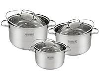 Набор кастрюль с крышками из нержавеющей стали 6 предметов Edenberg. Набор кухонной посуды EB-4071