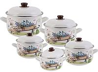 Набор эмалированных кастрюль с крышками из 10 предметов. Эмалированная посуда Edenberg EB-1876
