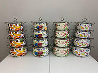 Набор эмалированной посуды с крышками из 8 предметов. Эмалированные кастрюли Edenberg EB-3371-D