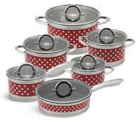 Набор кастрюль из нержавеющей стали 12 предметов Edenberg. Набор кухонной посуды с крышками EB-4055