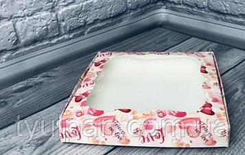 Картонная коробка для пряника печенья сердечки розовая 20*20*3 см