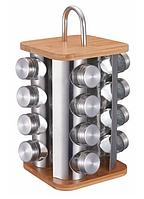 Набор ёмкостей для специй на деревянной квадратной подставке Edenberg EB-4030