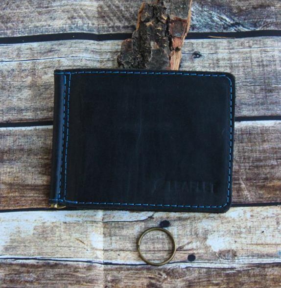 """Затиск для грошей з монетницею, гаманець зі шкіри """"Leaflet"""" - c RFID захистом! + ПОДАРУНОК!"""