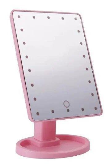 Дзеркало з LED підсвічуванням прямокутне 22 led, (Рожевий)