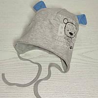Шапка для мальчика трикотажная на завязках с ушками Размер 40-42 см Возраст 1-3 месяцев, фото 7
