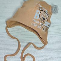 Шапка для мальчика трикотажная на завязках с ушками Размер 40-42 см Возраст 1-3 месяцев, фото 6