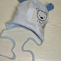 Шапка для мальчика трикотажная на завязках с ушками Размер 40-42 см Возраст 1-3 месяцев, фото 5