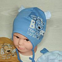 Шапка для мальчика трикотажная на завязках с ушками Размер 40-42 см Возраст 1-3 месяцев, фото 2