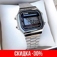 Мужские серебряные наручные часы Casio / Касио на браслете