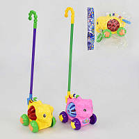 """Каталка 0330-0333 """"Животные"""" на палочке, с погремушкой, 2 вида, в кульке"""
