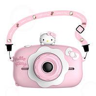 Детский цифровой фотоаппарат Children`s fun Hello kitty 20Мп с фронтальной камерой с картой 16 ГБ