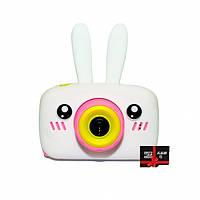 Детский цифровой фотоаппарат Children`s fun Белый зайчик 20Мп с фронтальной камерой с картой 16 GB