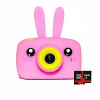 Детский цифровой фотоаппарат Children`s fun Розовый Зайчик 20Мп с фронтальной камерой с картой 16 GB