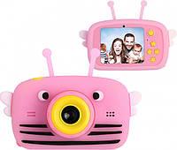 Детский цифровой фотоаппарат Children`s fun Розовая Пчелка с фронтальной камерой