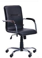 Зручне офісне комп'ютерне крісло на колесиках Самба-RC Хром горіх Скаден чорний без канта