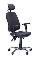Зручне офісне комп'ютерне крісло на колесиках Регбі HR MF Chrome Квадро-02