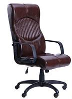 Зручне офісне комп'ютерне крісло на колесиках Геркулес Пластик Мадрас дарк браун
