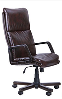 Зручне офісне комп'ютерне крісло на колесиках Техас Екстра горіх Мадрас дарк браун