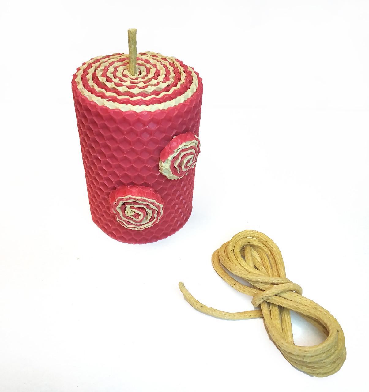 Фитиль вощеный 4 мм для свечей из вощины. Цена за 1 метр.