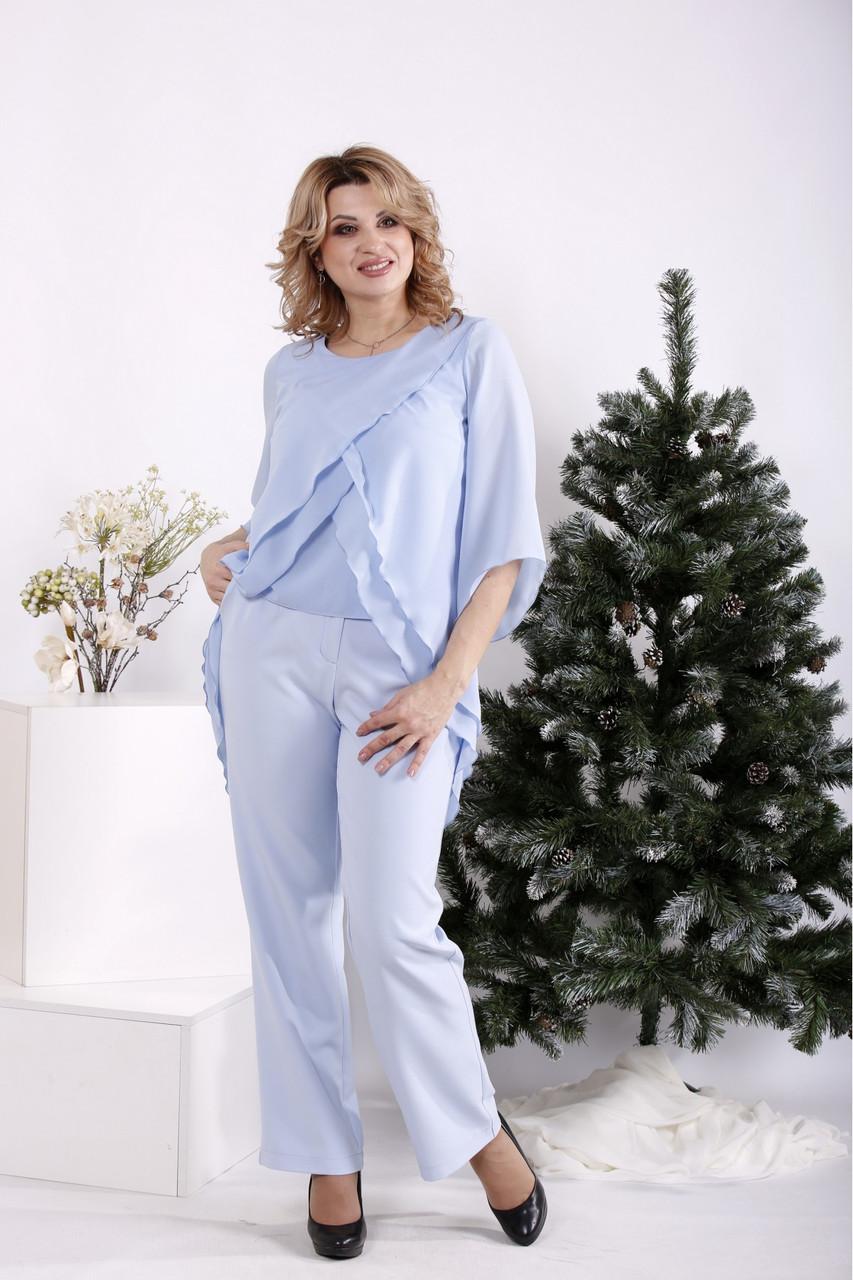Блакитний костюм жіночий урочистий великого розміру: блуза і брюки 42-74. 01693-3